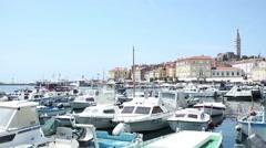 Boat marina and promenade in Rovinj Stock Footage