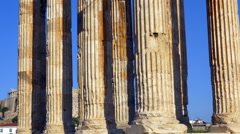 Tilt up of columns of Temple of Olympian Zeus in Athens, Greece - 4K 768 - stock footage