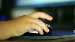 Toddler Hand On A Computer Mouse Shallow DOF - stock footage