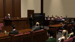 Courtroom attorney using technology to present his case Stock Footage