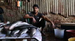 Portrait of a vendor sitting behind a fish stand in Mumbai. Stock Footage