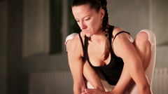 Young yoga instructor showing the exercise Stock Footage