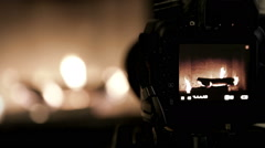 Cute home fireplace video shooting process with DSLR camera Stock Footage
