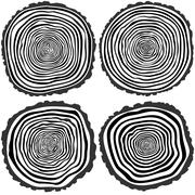 Vector tree rings background and saw cut tree trunk Stock Illustration