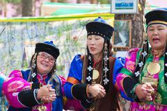 Buryat Mongolian dance yokhor Stock Photos