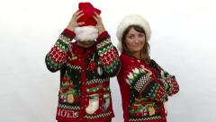 Ugly Sweater Couple Stock Footage