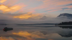 Clouds and fog moving over the lake Stock Footage