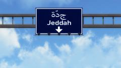 4K Passing Jeddah Saudi Arabia Highway Road Sign with Matte 2 stylized Stock Footage