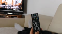 Man Watching Tv Changing Channels Stock Footage