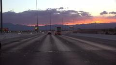 4K UHD driving freeway to Las Vegas at dusk sunset colors 2 Arkistovideo