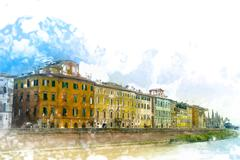 View of old street and river Arno in Pisa city, Italy - stock illustration