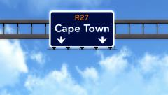 4K Passing Cape Town South Africa Highway Road Sign with Matte 2 stylized Stock Footage
