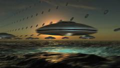 UFO Array flying in formation Stock Footage