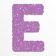 Vector multi color alphabet with grain texture, letter E - stock illustration
