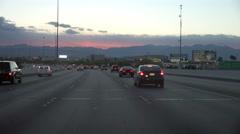 4K UHD driving freeway to Las Vegas at dusk sunset colors 4 Arkistovideo