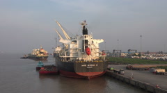 Shipping at port of Yangon, Myanmar Stock Footage
