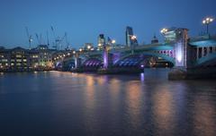 Southwark bridge in purple - stock photo