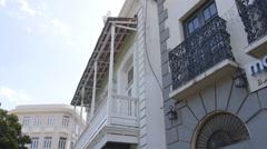 Old San Juan street buildings in the old city. Stock Footage