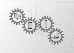 Stock Illustration of illustration of technology devices with grey gearwheels
