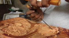 Carver with Wood in PALAU Stock Footage