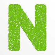 Vector multi color alphabet with grain texture, letter N - stock illustration