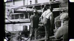 BLACK Men DOCK WORKERS Port Industry 1930s Vintage Film Archival Movie 8077 Stock Footage