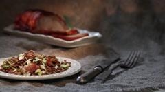 Lentil salad roast pork Stock Footage