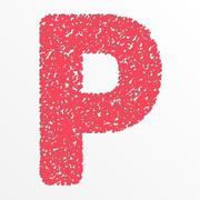 Vector multi color alphabet with grain texture, letter P Stock Illustration