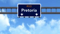 4K Passing Pretoria South Africa Highway Road Sign with Matte 2 stylized Stock Footage