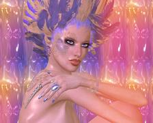 Beauty and fashion, fantasy scene with feathers - stock illustration