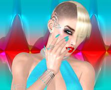Stock Illustration of Punk girl with Mohawk hairstyle on colorful abstract background.