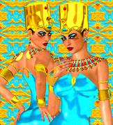 Upper and Lower Egypt symbolized with our fantasy digital art, Egyptian twins. Stock Illustration