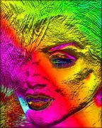 Colorful modern digital art, pop or punk art style blonde bombshell. Piirros