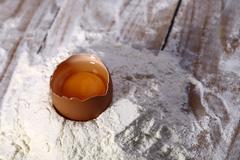 Chopped egg in flour Stock Photos