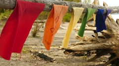 Prayer flags on beach slow motion Stock Footage