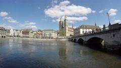 View on Münsterbrücke bridge and Grossmünster - Zurich 4K Stock Footage