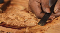 Local Wood Carver on- PALAU - stock footage
