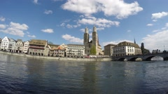 View on Limmat and Grossmünster - Zurich 4K Stock Footage