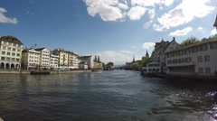 View on Limmat river - Zurich 4K Stock Footage