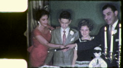 CUTTING BAR MITZVAH CAKE Jewish American 1960 Vintage Film Home Movie 8086r Stock Footage