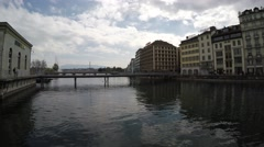 Quay de I'lle view to the Ron river - Geneva 4K Stock Footage