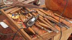 Wood Carving Tools on- PALAU Stock Footage