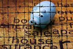 Sale house and piggy bank concept Stock Photos
