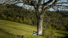 Man in green countryside reading a book under oak tree - stock footage