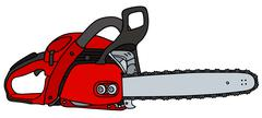 Red chainsaw - stock illustration