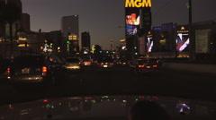 4K UHD Las Vegas Strip north dusk MGM NY NY Aria - seq 1 Stock Footage