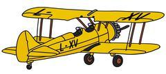 Yellow biplane - stock illustration