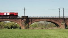 Freight train on Railway bridge Stock Footage