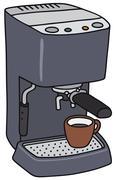 Blue electric espresso maker - stock illustration