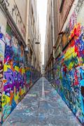 Melbourne graffiti in narrow alley - stock photo
